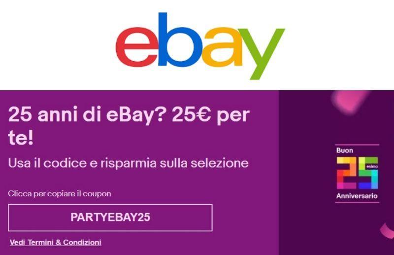 Coupon eBay da 25 euro