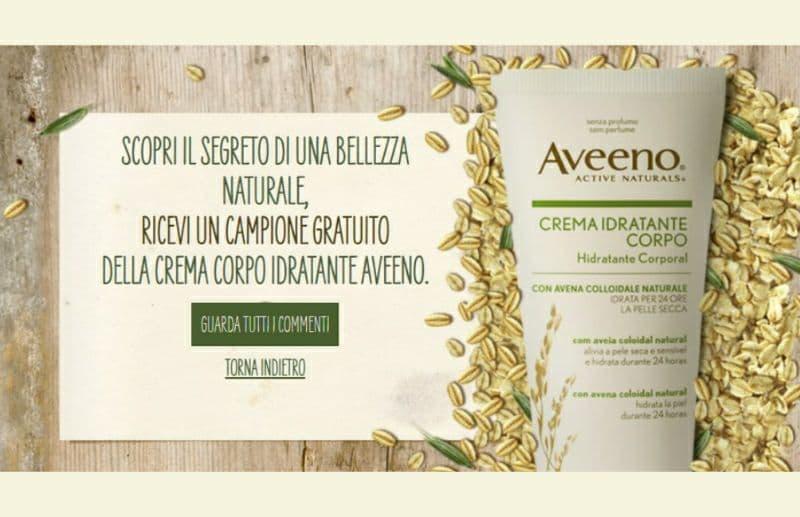 campione omaggio Aveeno crema idratante corpo