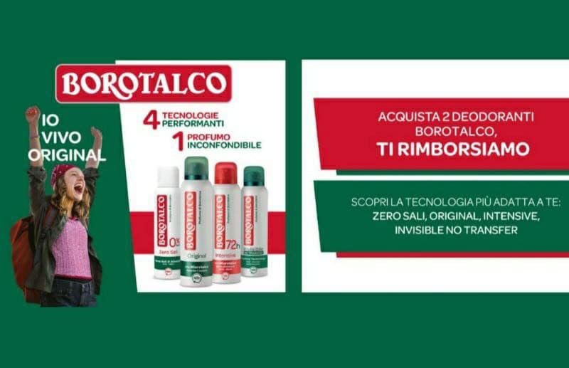 Rimborso Borotalco su 2 deodoranti fino a € 6,95!