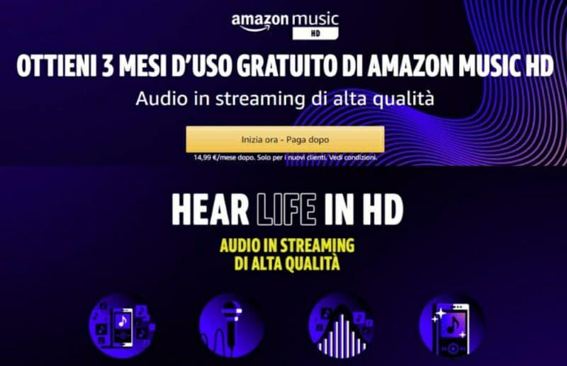 Amazon Music HD 3 mesi Gratis!