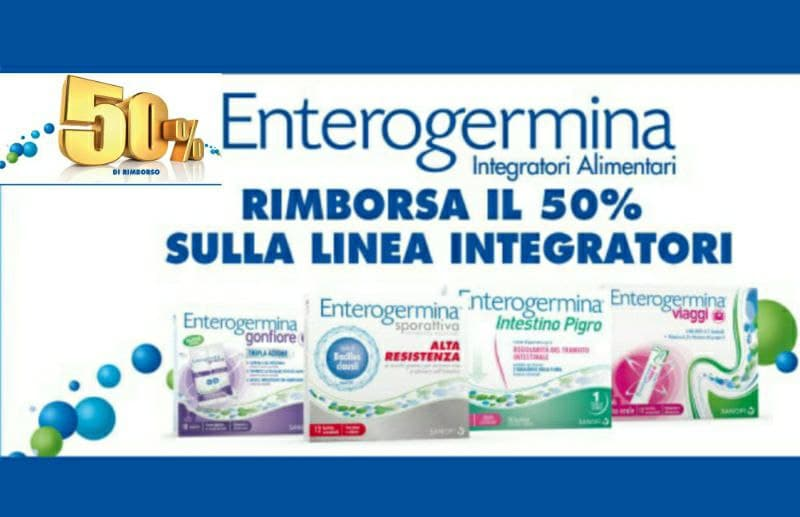 Cashback Enterogermina, rimborso del 50%