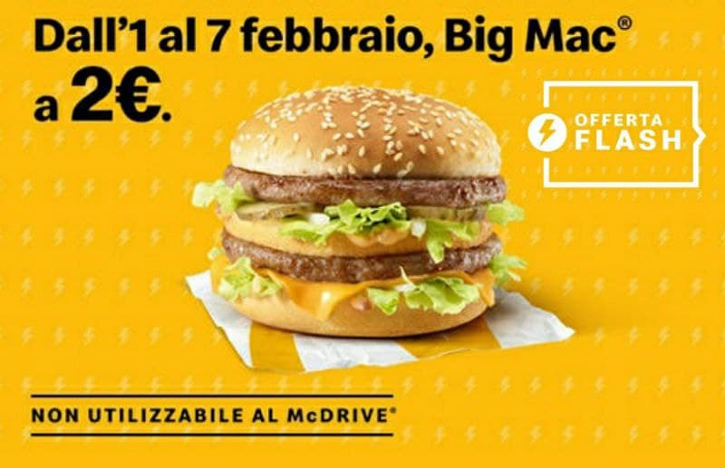 McDonald's Big Mac a € 2, offerta flash!