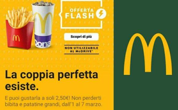 Nuova Offerta McDonald's Patatine+Bibita grande a soli € 2,50