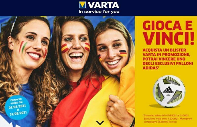 Nuovo Concorso Varta 300 palloni Adidas in palio Gioca e Vinci