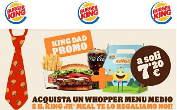 Offerta Burger King per la Festa del Papà King Dad Promo omaggio
