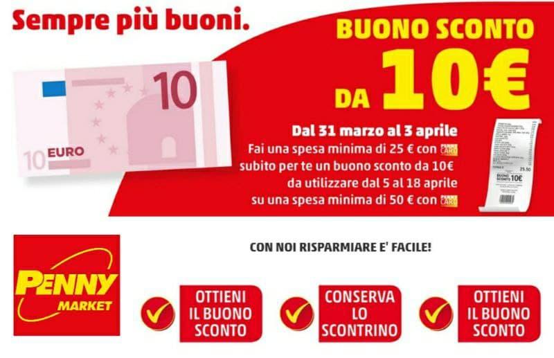 Penny Market buono sconto da 10 € 31 marzo al 3 aprile