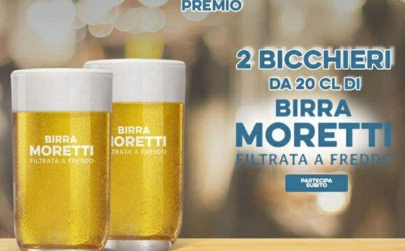 Bicchieri Birra Moretti, premio sicuro due bicchieri di filtrata a freddo