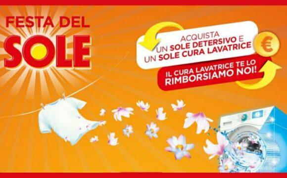 Cashback Sole ricevi il rimborso del cura lavatrice festa del sole
