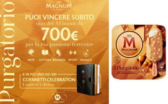 Concorso Magnum Purgatorio vinci 100 cofanetti e buoni da 700 euro