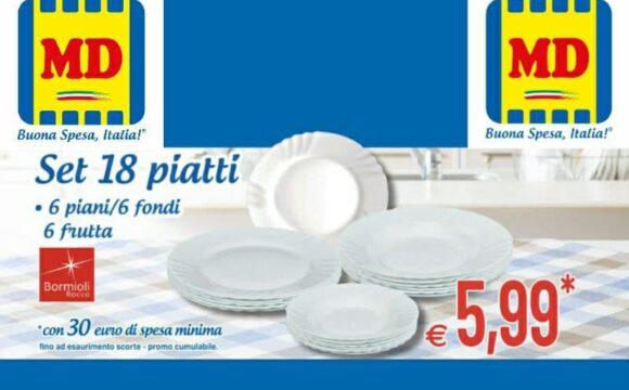 MD Set piatti Bormioli Rocco a 5,99 euro offerta valida fino al 14 aprile 2021