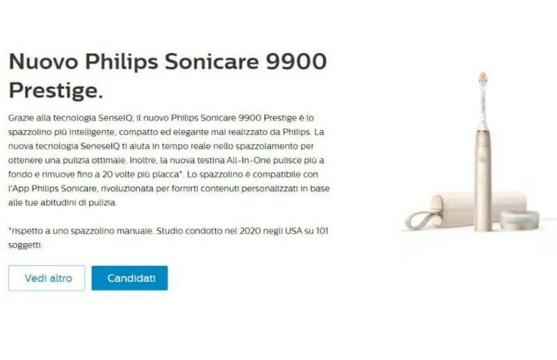 Spazzolino elettrico Philips Sonicare 9900 Prestige in omaggio! Nuovo Test! Candidati anche tu!