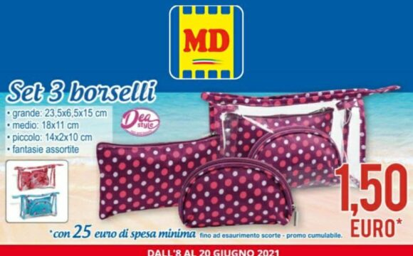 MD Set 3 borselli a 1,50 euro offerta valida fino al 20 giugno 2021