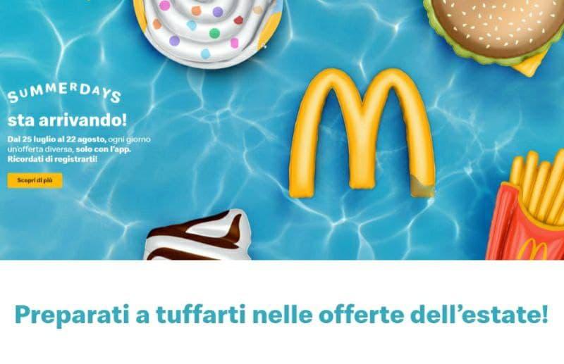 McDonald's Summerdays 30 giorni di gustose offerte
