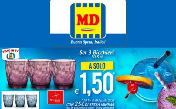 MD set di 3 Bicchieri Bormioli Rocco a soli 1,50€ fino al 29 agosto