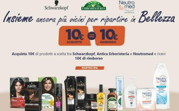 Cashback Antica Erboristeria Neutromed e Schwarzkopf Henkel Beauty Care 10€ acquisto 10€ rimborso