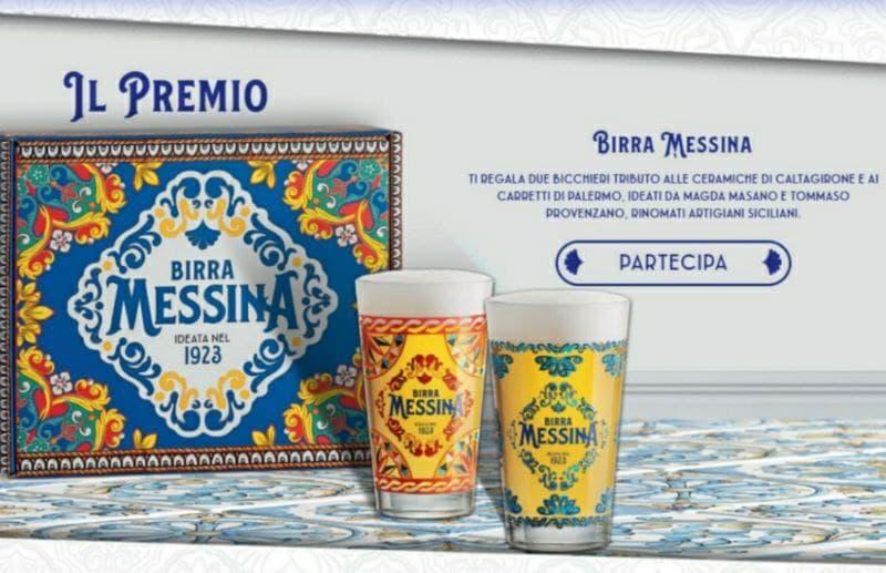Due Bicchieri Birra Messina decorati, premio sicuro tributo agli artisti siciliani