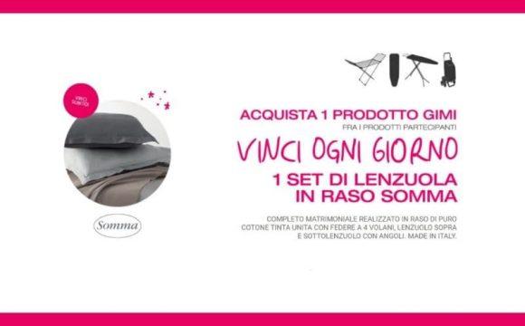 Nuovo concorso Sogni d oro con Gimi acquista un prodotto e vinci un set lenzuola Somma Made in Italy